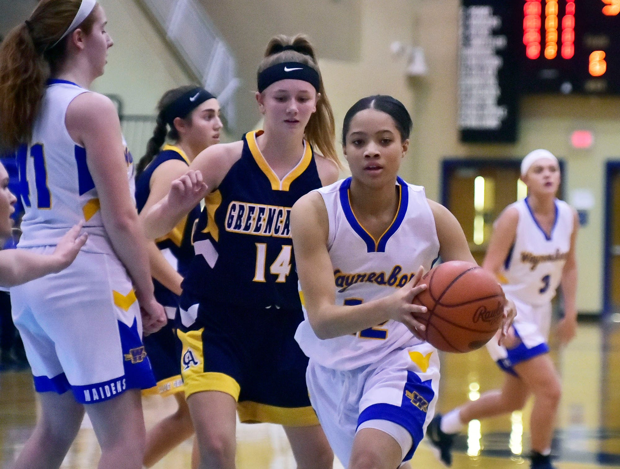 Waynesboro's Tatianna Badger passes the ball during the Greencastle game at the Franklin County Tip-Off Tournament, Friday, Dec. 7, 2018.