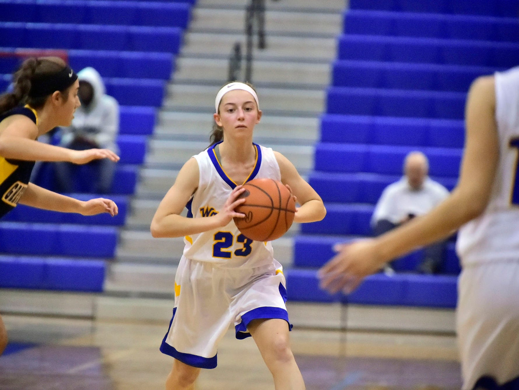 Waynesboro's Emma Steiger (23) looks to pass during the Franklin County Tip-Off Tournament, Friday, Dec. 7, 2018.