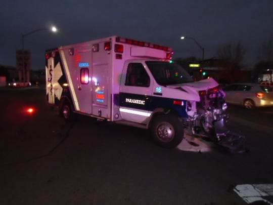 The Nevada Highway Patrol is investigating a head-on rollover crash involving a REMSA ambulance that occured Dec. 7, 2018 in Sparks.
