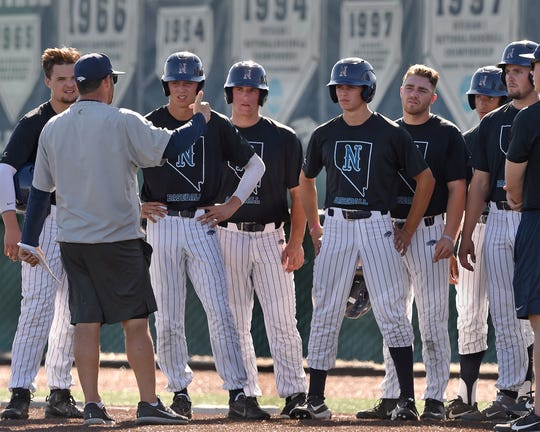 Nevada baseball assistant coach Jake Silverman talks to the players at Peccole Park on Sept. 24, 2018