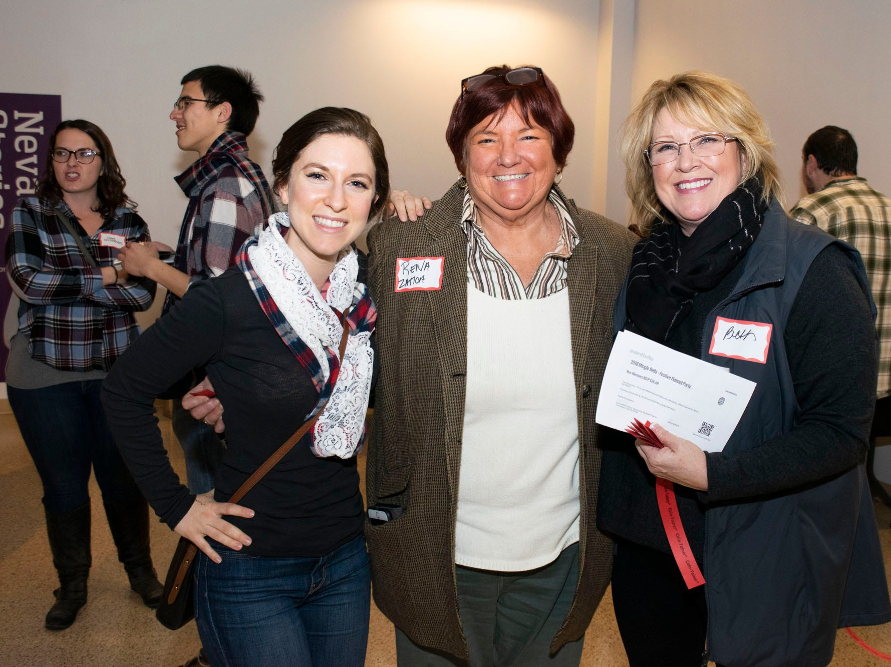 Nicole Dion, Rena Zatica, and Beth Law attend Mingle Bells 2018 at the Discovery Museum on Thursday, Dec. 6, 2018. Reno, Nev.