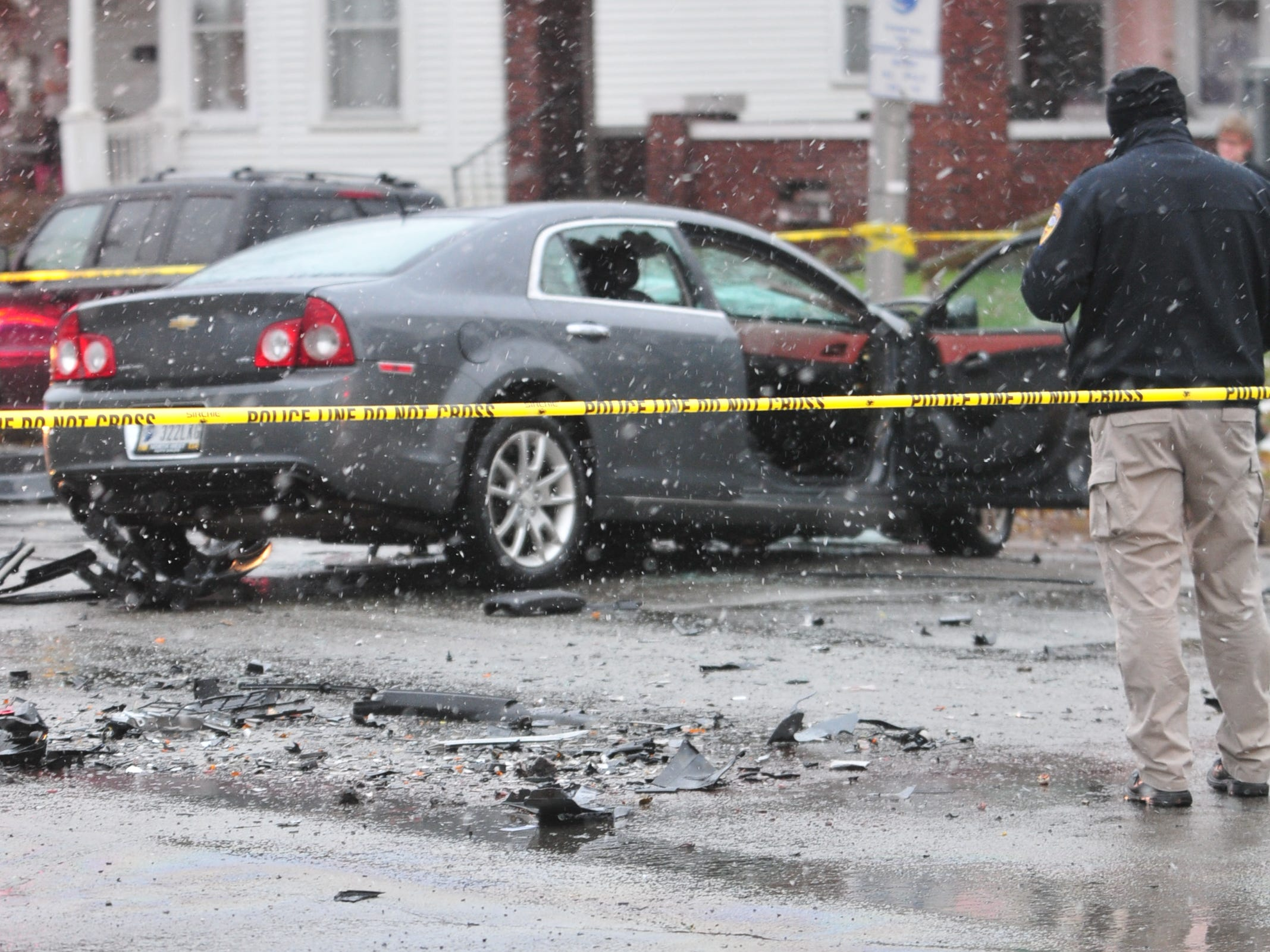A two-vehicle accident scattered debris Thursday on Richmond Avenue.