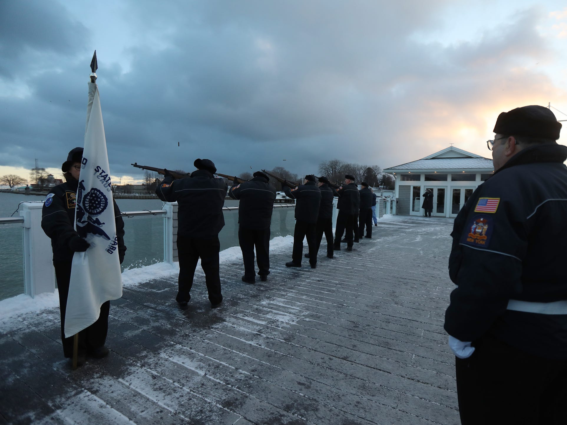 The Monroe County American Legion members gave a  21 gun salute followed by the playing of taps.