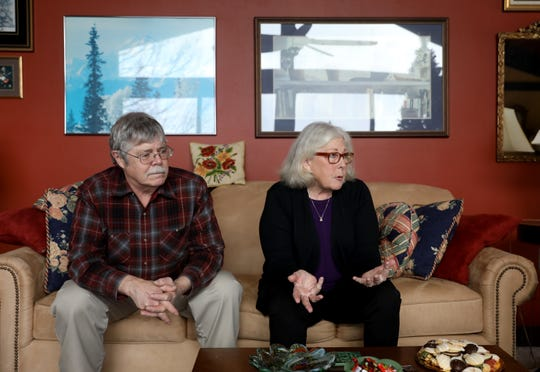 Graham Thompson, left, and his wife, Kathleen O'Brien, shared what it's like to live with her frontotemporal dementia. O'Brien said she wanted health care providers as well as families to be more open about dementia so that people with the condition could get early treatment to improve their quality of life.