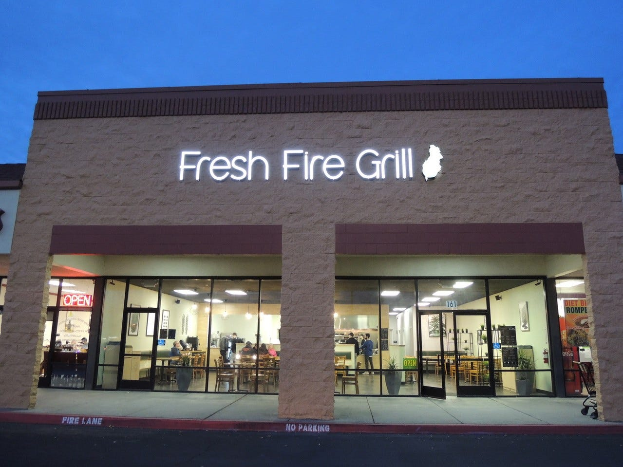 Entrance to the new Fresh Fire Grill in the Raley's/Shopko shopping center on Lake Boulevard
