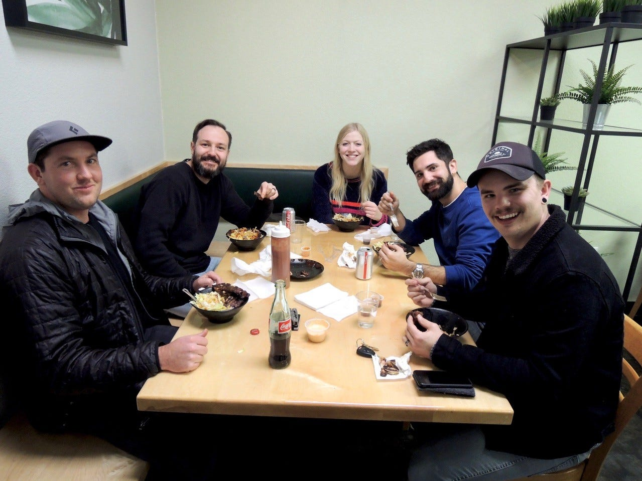 Dining at the new Fresh Fire Grill location on Lake Boulevard are Chip Whitley, left, Jordan Bogart, Rachel Faulkner, Josh Hesami and Dustin Schultz.