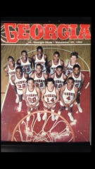 A copy of a University of Georgia men's basketball program from 1982. Bozman is in the back row, first from the right.
