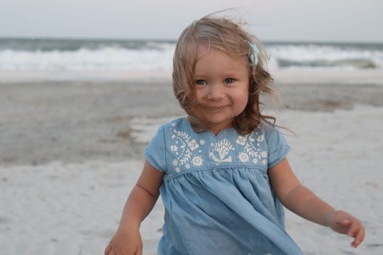 Charlotte Rice, 2, will be receiving a kidney donation from her father in 2019. Photo courtesy of Wes Rice.
