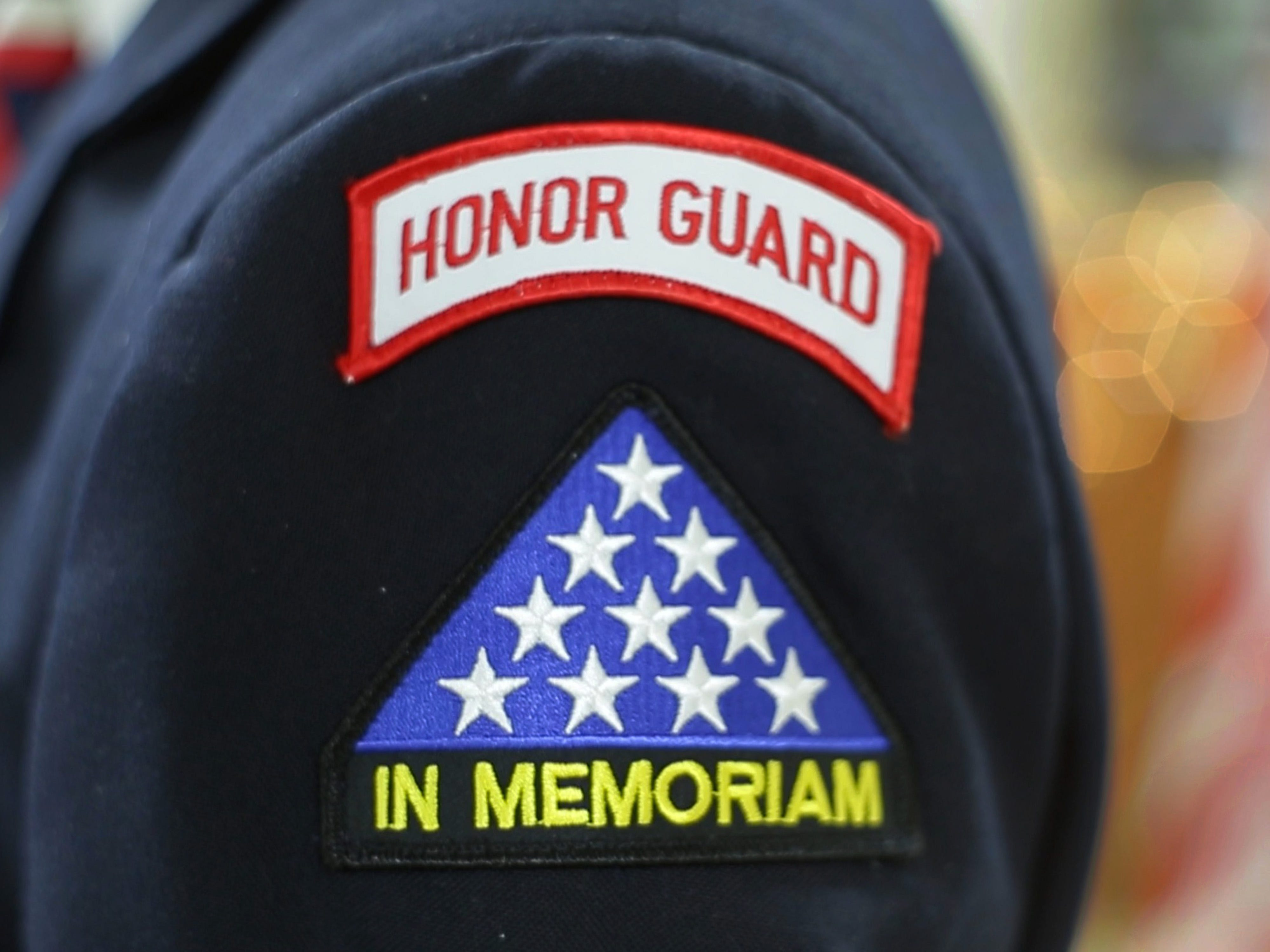 A detail of a honor guard jacket at American Legion Post 243 during a Pearl Harbor ceremony, Friday, December 7, 2018, in Plymouth, Wis.