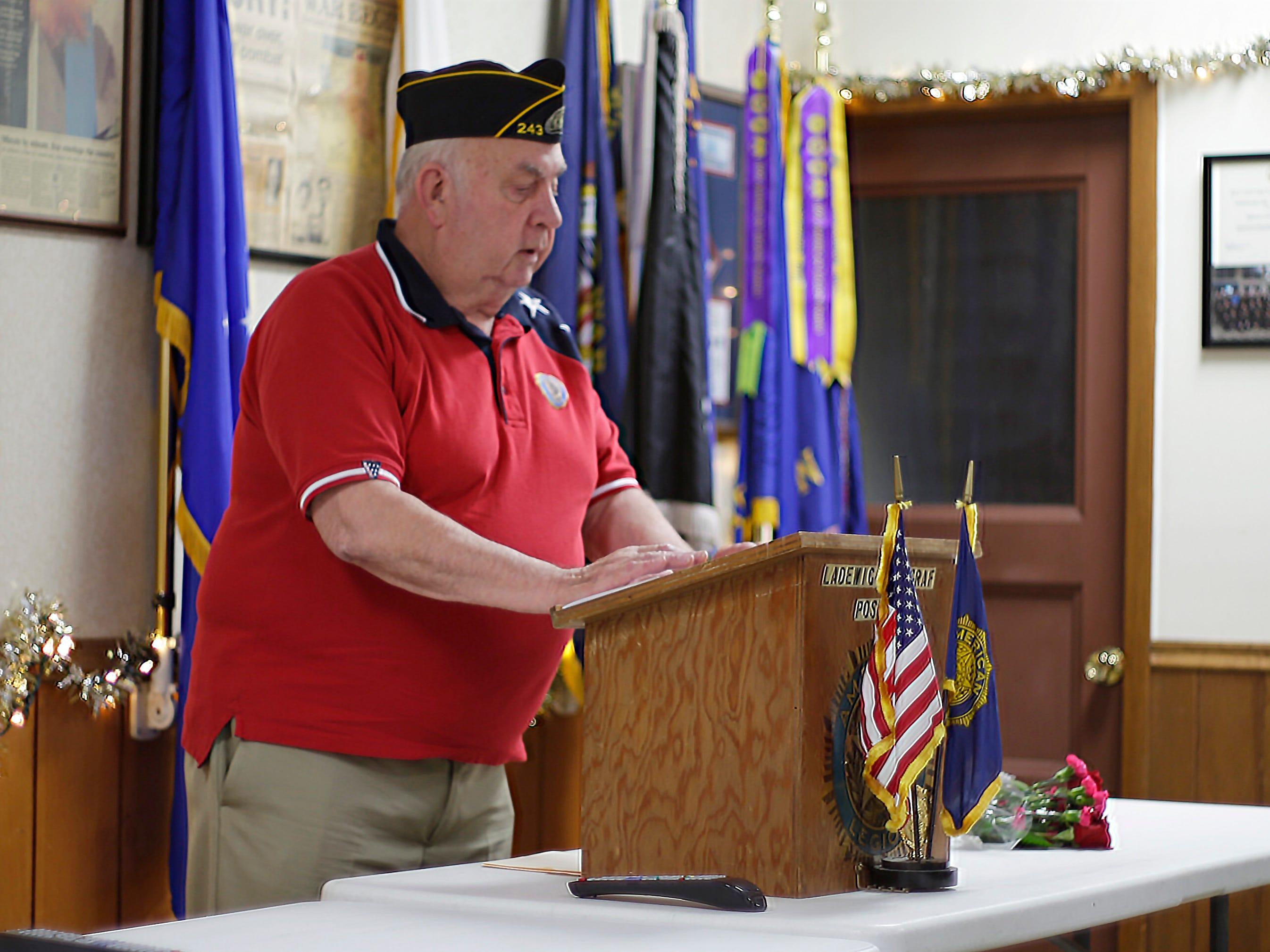 American Legion Ladwig-Zinkgraf Post 243 Adjutant Konrad Kaczkowski speaks during the Pearl Harbor Ceremony at the Post, Friday, December 7, 2018, in Plymouth, Wis.