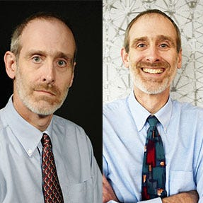 A newer and old photo of Times Editor Jeff Gauger