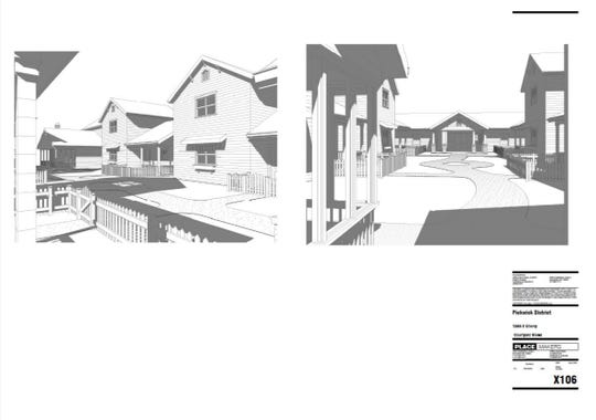 Rendering shows what a pocket neighborhood might look like.