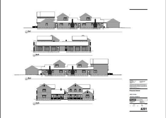 A rendering shows the front, back and side views of what a pocket neighborhood development would look like.