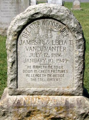 Gravestone of Decatur Vandevanter, Augusta Stone Church cemetery.