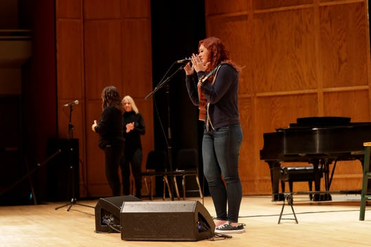 """'America's Got Talent' star Mandy Harvey speaks to W.T. Moore Elementary and Swift Creek Middle school students in Opperman Music Hall at Florida State University as part of """"Opening Nights in Class"""" Friday, Dec. 7, 2018."""
