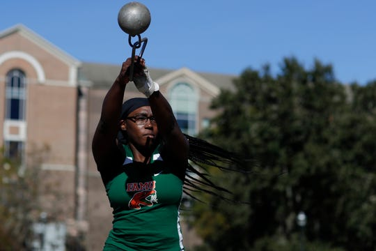 FAMU sophomore Taylor Gorum is one of the top throwers in the MEAC. She helped the women clinch the 2018 outdoor title.