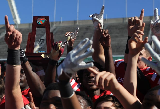 NFC beat Champagnat Catholic 28-20 to win a Class 2A state championship on Friday, Dec. 7, 2018, at Orlando's Camping World Stadium.