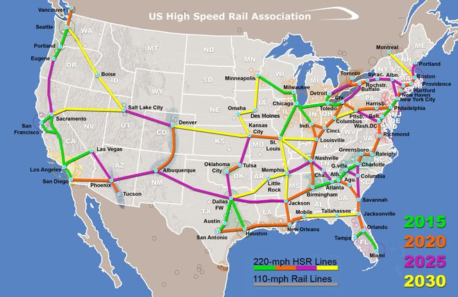 The U.S. High Speed Rail Association created a conceptual map of major cities connected by a national network of high speed rail systems, which includes Tallahassee.