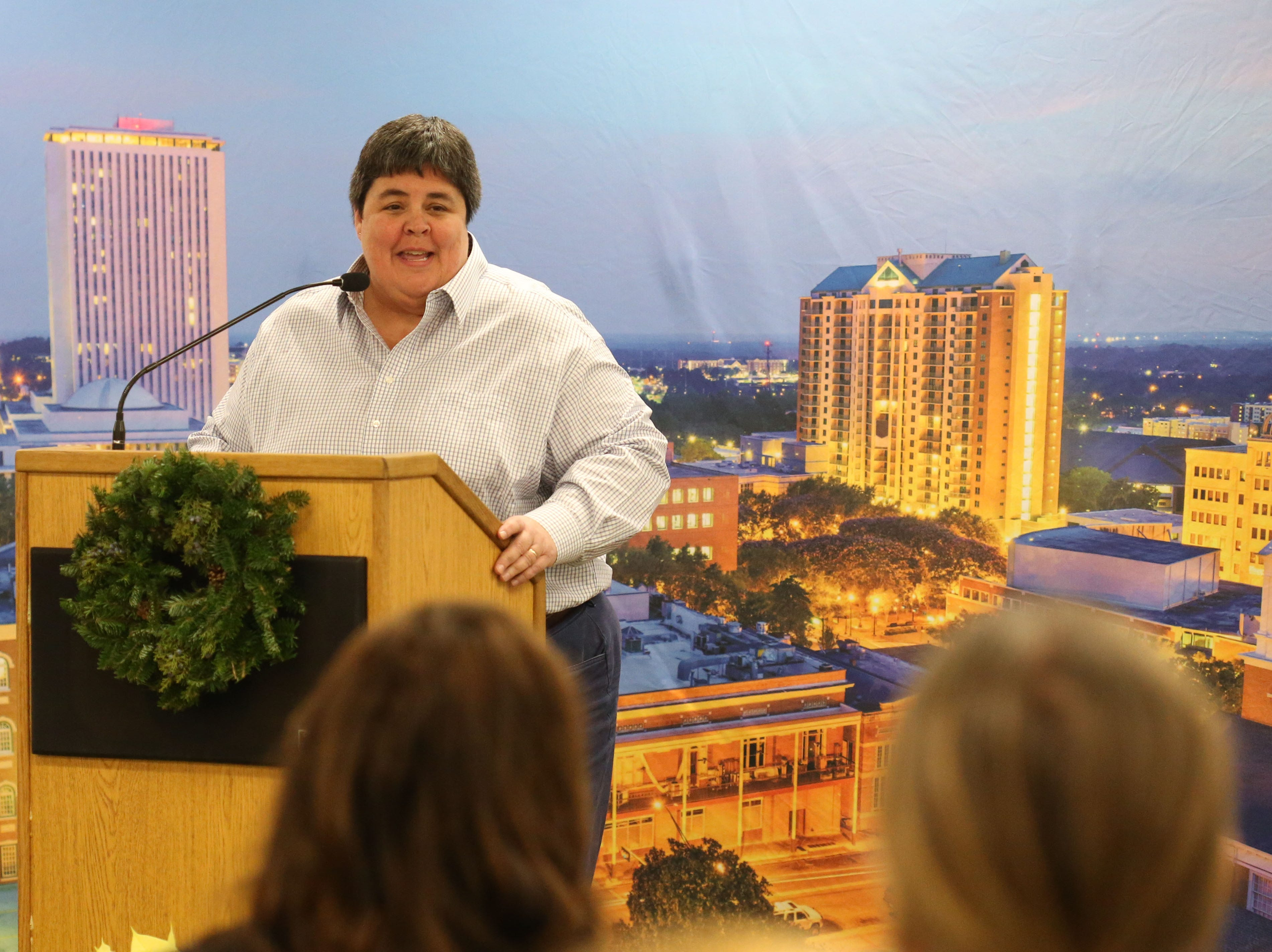 Ashley Edwards, director of City of Tallahassee Park, Recreation, and Neighborhood Affairs, speaks at a launch party held at the Tallahassee Democrat for Gerald Ensley's book, 'We Found Paradise,' Thursday, Dec. 6, 2018.