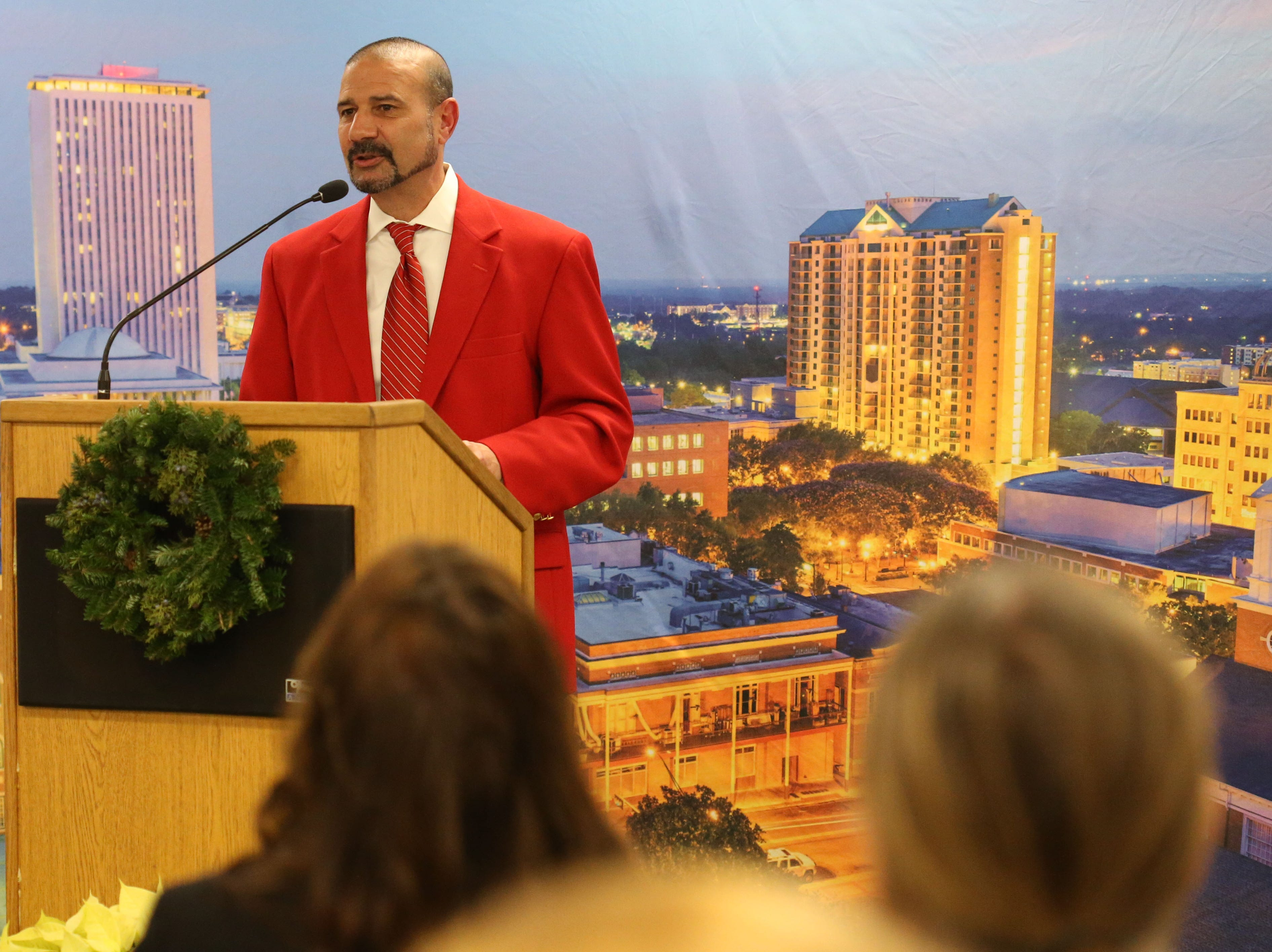 Rocky Hanna, Leon County superintendent of schools. Speaks at  a launch party held at the Tallahassee Democrat for Gerald Ensley's book, 'We Found Paradise,' Thursday, Dec. 6, 2018.