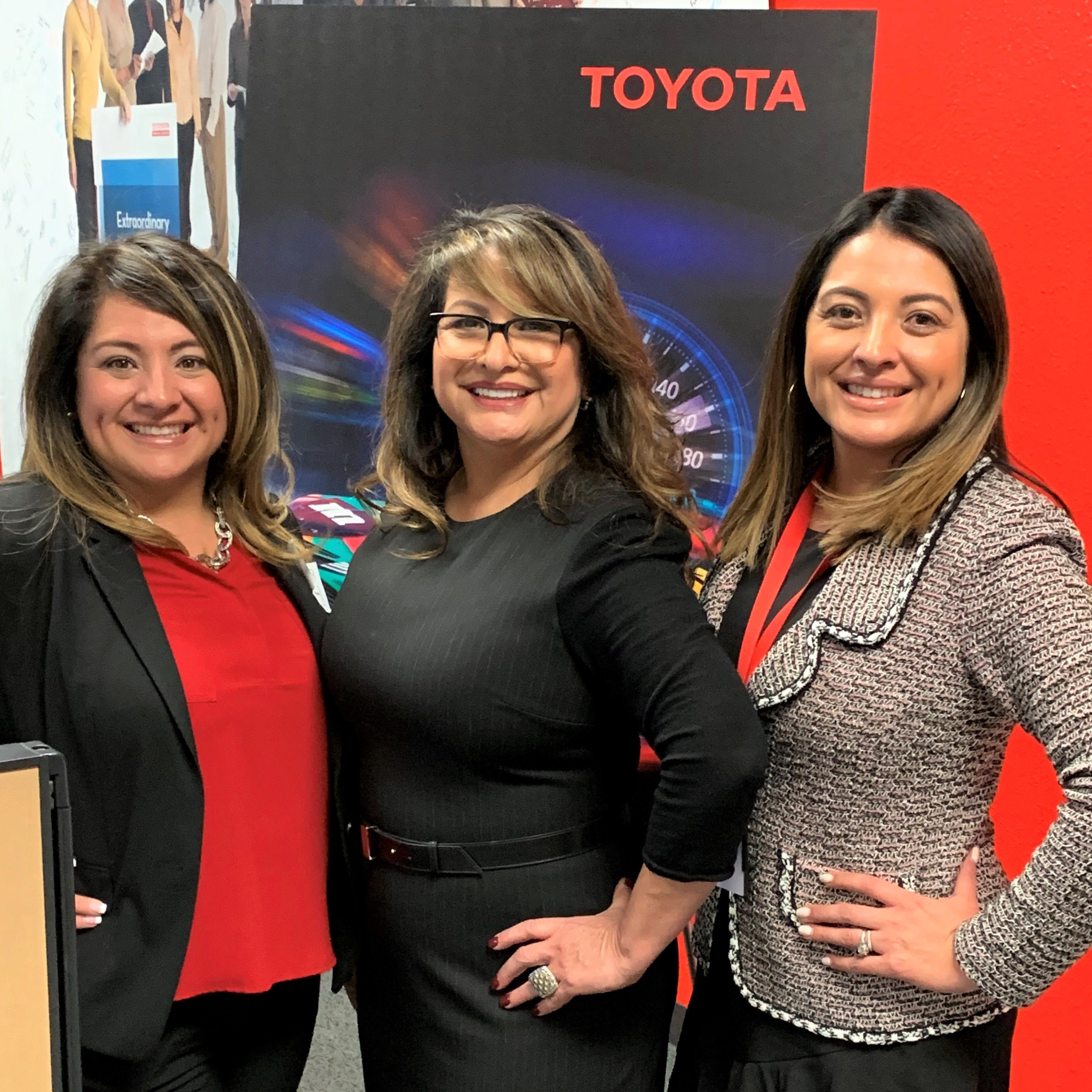 Rosa Santana, CEO of the Santana Group and Oveana, stands with her daughters, Lisa Navarro Gonzales, left, and Nicole Navarro Velesiotis, at the Dec. 4 opening of Oveana's new, East El Paso call center serving Toyota Financial Services. The daughters are Santana Group vice presidents and Oveana co-owners.