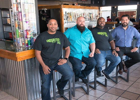 From left, Jerome Issac, Chris Madrid, Darrell Daughtry and Sergio Lopez are shown at the Nov. 16 grand opening of their new Undisputed Craft House bar and restaurant at 1881 Saul Kleinfeld Drive in East El Paso.