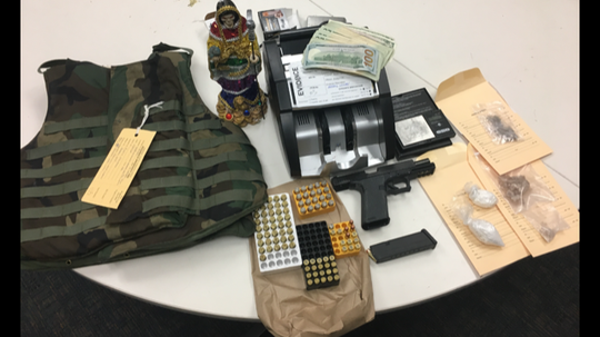 Detectives with the Ventura County Sheriff's Office East County Street Narcotics Team confiscated narcotics and firearms during an arrest in Canyon Country Nov. 30.