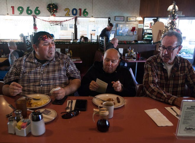 From left, Brent Anderson, Fred Anderson and Howard Young enjoy breakfast at the Vagabond Restaurant in Ventura. The restaurant, owned by Jolene McBee, is closing Jan. 1 because the lease is up and the owners of the property plan remodel it.