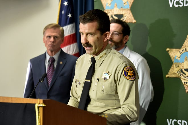 Ventura County Sheriff Bill Ayub shares new information at Friday's news conference explaining that a bullet that killed Sgt. Ron Helus at the Borderline incident in November came from the rifle of a California Highway Patrol officer who responded to the shooting.