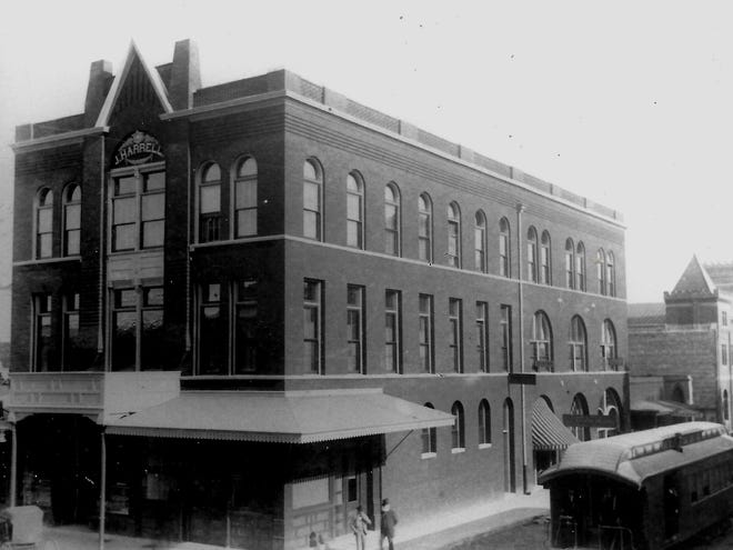 """""""Larger-than-life Visalian"""" Jasper Harrell's historic building on the corner of what is now Court and Main streets. He operated a commuter train between Visalia and Tulare, pictured bottom right."""