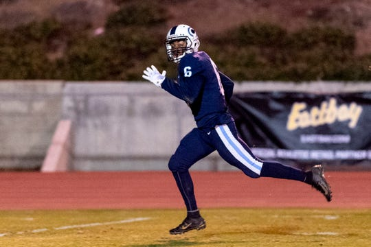 Central Valley Christian's Brian Noel scores a touchdown against Morse in a CIF SoCal Regional Championship Bowl Game on Friday, November 30, 2018.