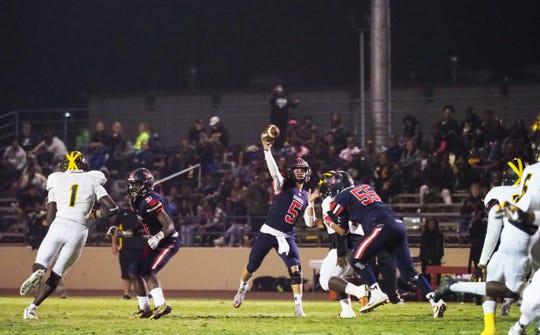 San Joaquin Memorial senior quarterback Alec Trujillo (5) has passed for more than 10,000 yards during his high school career.
