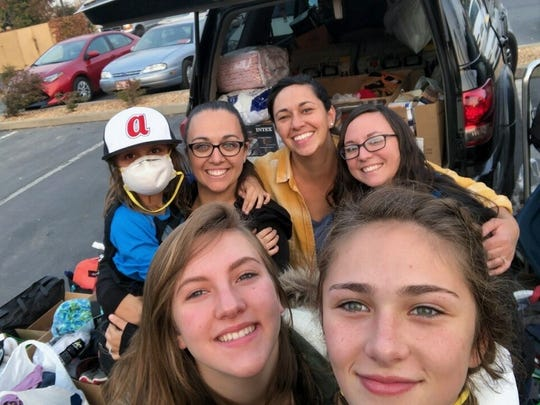Elaina West takes a selfie with friends and family on a trip to Chico to donate items for victims of the Camp Fire.