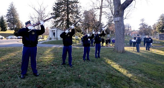A twenty-one gun salute is given during a ceremony Dec. 7, 2018 honoring the fifteen members of the U.S. Navy who received the Congressional Medal of Honor for their actions during the attack on Pearl Harbor. The ceremony was held at Kensico Cemetery in Valhalla by the American Legion Post 112 in Hawthorne, and the New York Medal of Honor Committee. About thirty people attended the ceremony, which took place on the 77th anniversary of the Japanese attack on Pearl Harbor during World War II.