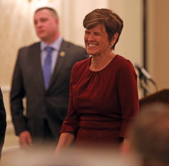 Maureen Sullivan of Clarktown Central School District is all smiles after receiving her Appreciation award during Rockland County PBA Annual Awards Dinner at Pearl River Hilton on Dec. 6, 2018.