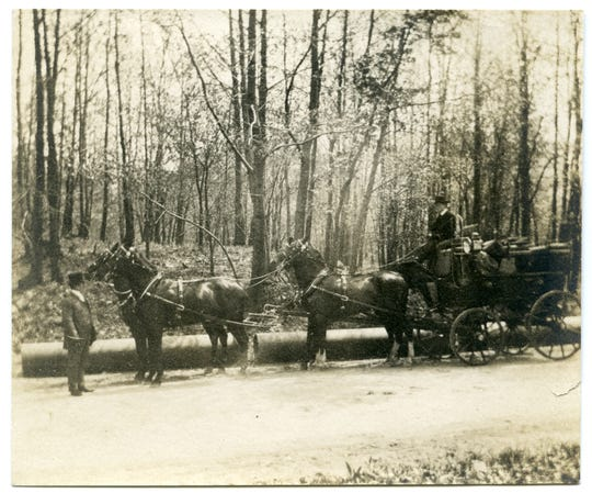 Archive photo of the Rockfeller State Park Preserve's carriage roads.  The preserve, and its and its 65-mile carriage road network, are being considered for inclusion on the State Register of Historic Places.