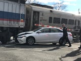 A car was hit by a NJ Transit train on Central Ave. near the Pearl River Train Station Dec. 7, 2018.