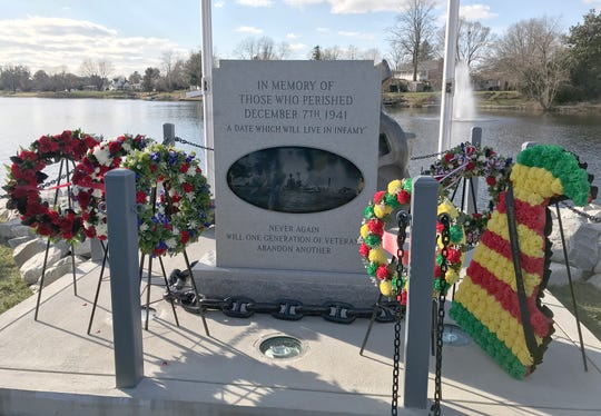 A memorial commemmorating the attack on Pearl Harbor on Dec. 7, 1941, was dedicated Friday at Lake Como in the Town of Smyrna. The memorial includes an anchor from a 1942 U.S. Navy destroyer.