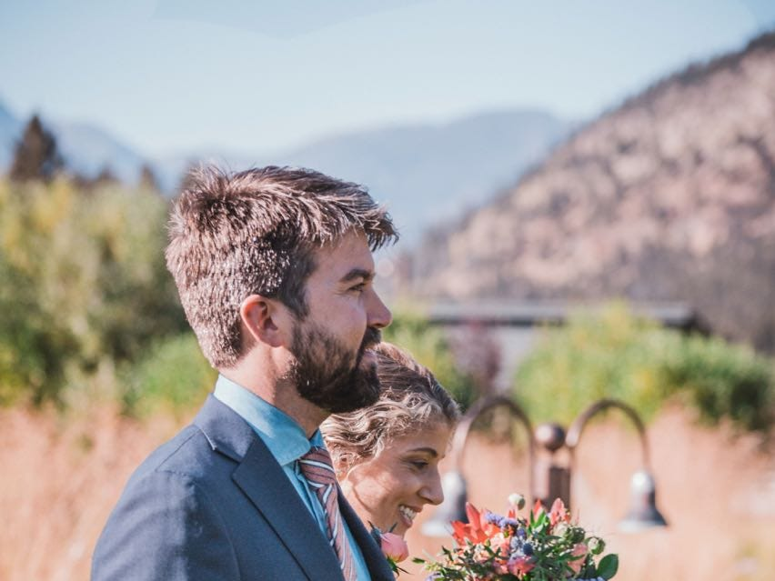 Emily Mannis and Patrick Dougherty walked themselves down the aisle.