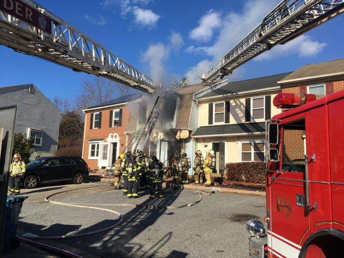 Ladders extended to the home on Old Forge Road.