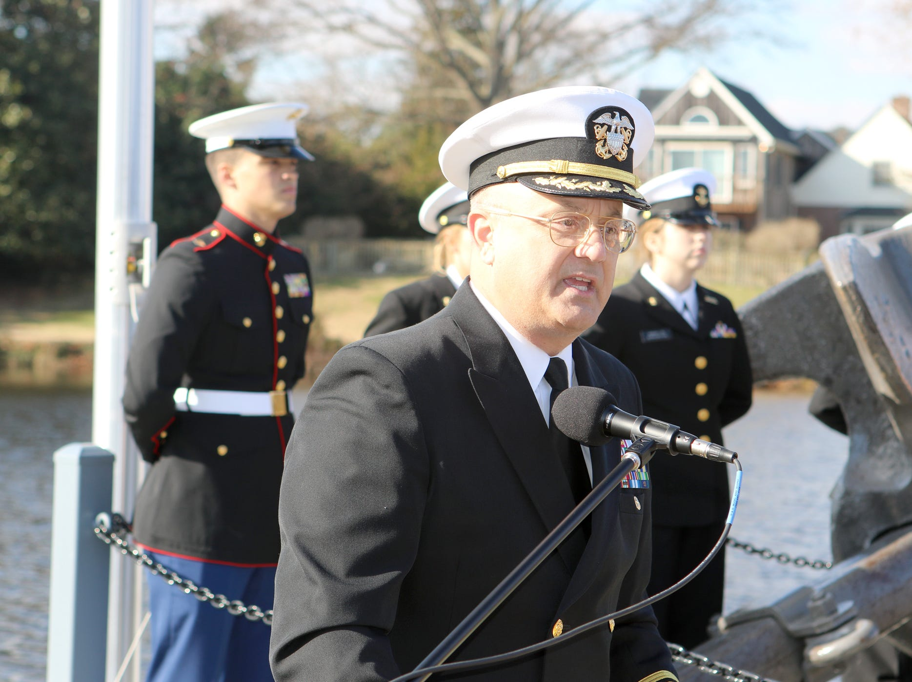 Capt. Robert E. Clark II (USN Ret.) and president of Wesley College in Dover was the keynote speaker for a memorial servive Friday at Lake Como in the Town of Smyrna commemmorating the attack on Pearl Harbor on Dec. 7, 1941. The memorial includes an anchor from a 1942 U.S. Navy destroyer.