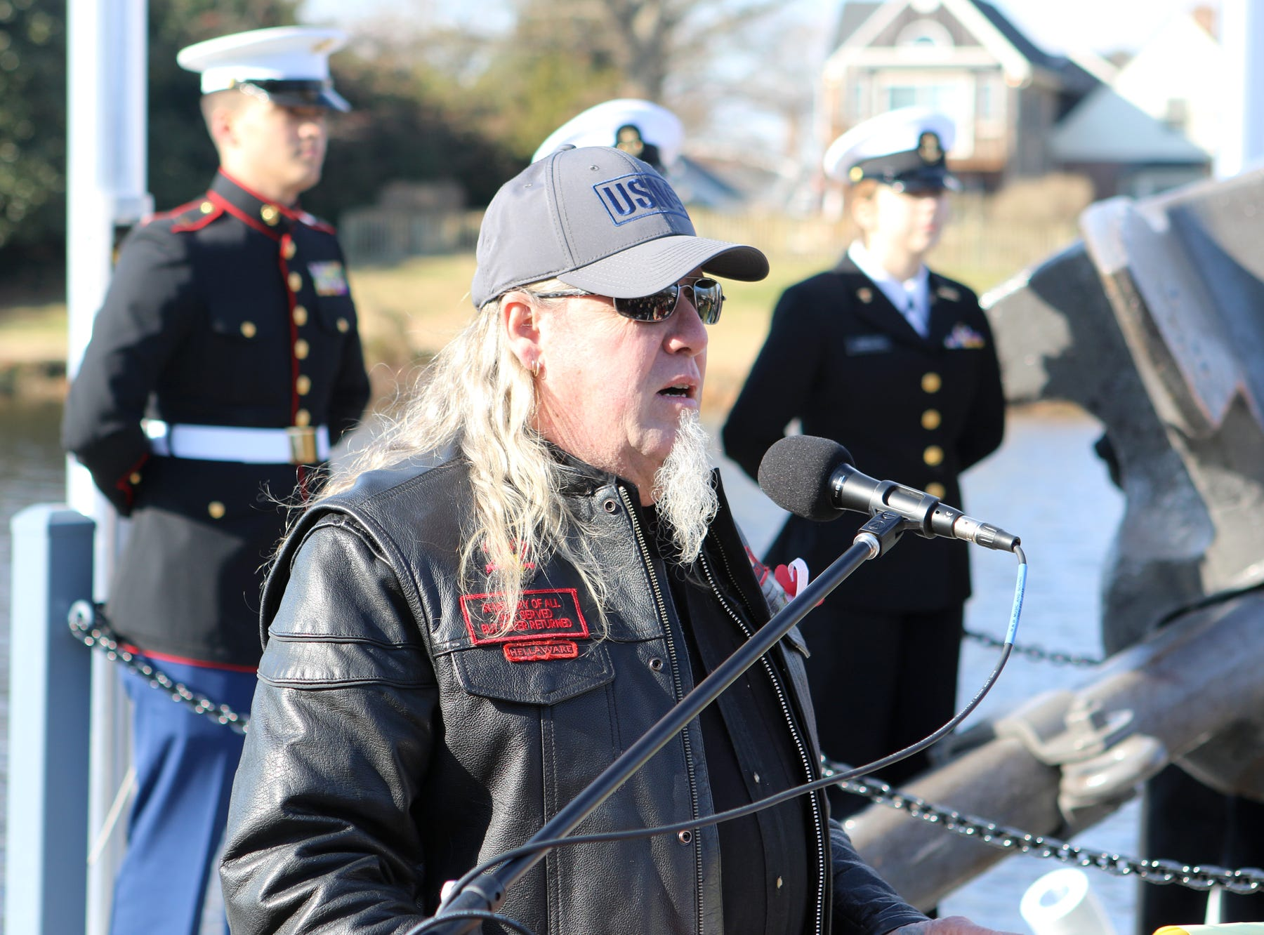 A memorial commemmorating the attack on Pearl Harbor on Dec. 7, 1941, was dedicated Friday at Lake Como in the Town of Smyrna. The memorial includes an anchor from a 1942 U.S. Navy destroyer. Terry Baker, a life member of the Vietnam Vets Legacy Vets Motorcycle Club was the emcee.