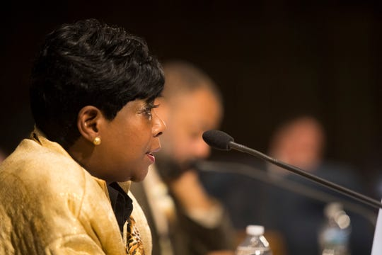 Councilwoman Zanthia Oliver speaks Thursday night in the council chambers.