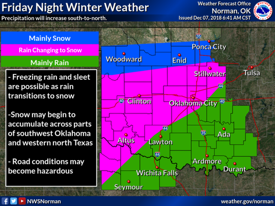 The primarily impacts from the winter storm will increase Friday night.