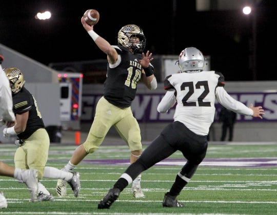 Rider's Jacob Rodriguez passes against Lubbock Cooper Thursday, Dec. 6, 2018, at Wildcat Stadium in Abilene.