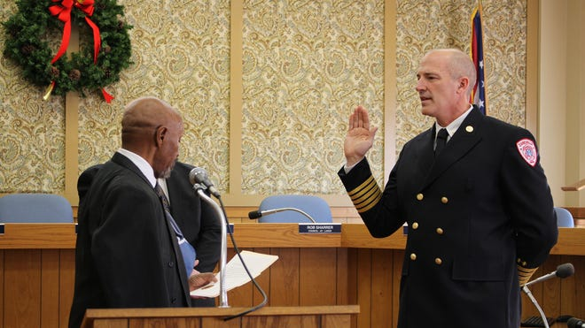 Jeff Bell is sworn in as the new fire chief of the Zanesville Fire Department on Friday, Dec. 8, 2018.