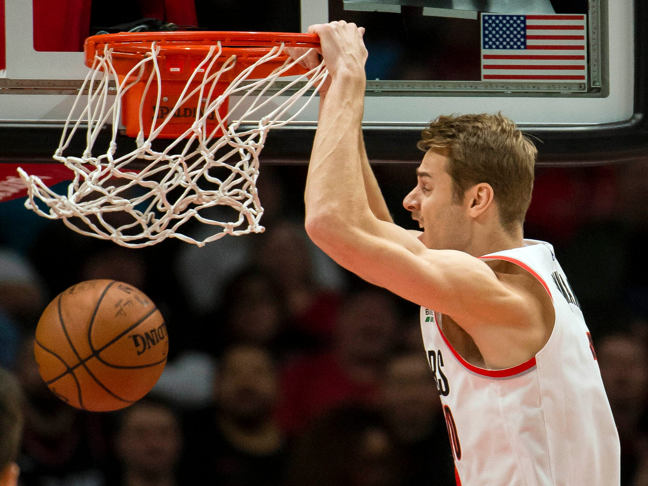 Dec. 6: Trail Blazers forward Jake Layman throws down the two-handed finish during the first half against the Suns in Portland.
