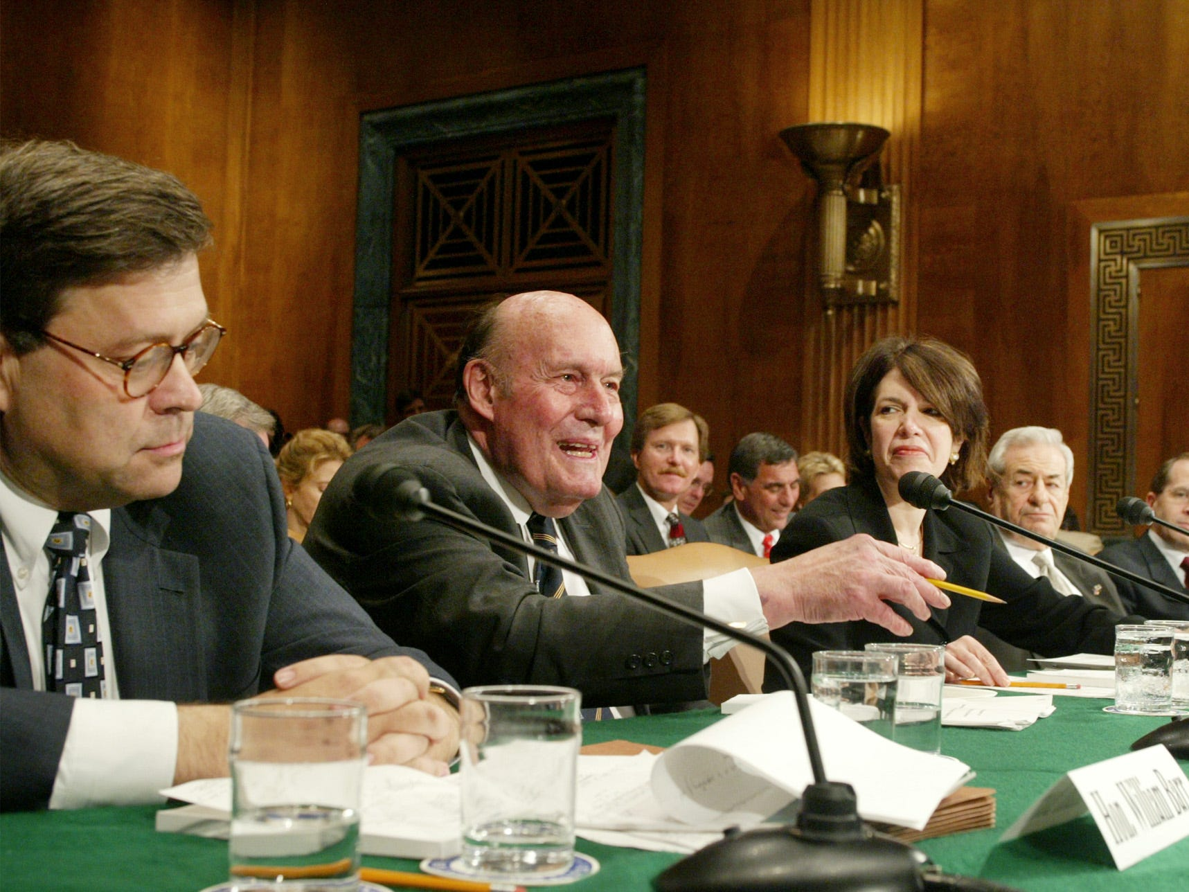 "Board member of MCI Telecommunications, Nicholas Katzenbach, second left, speaks at hearing before the Senate Committee on the Judiciary on ""The WorldCom Case: Looking at Bankruptcy and Competition Issues"" on Capitol Hill in Washington Tuesday, July 22, 2003. Witnesses are, from left, Executive Vice President and General Counsel of Verizon Communications William Barr, Katzenbach, Weil Gotshal & Manges LLP's  Marcia Goldstein, Communications Workers of America President Morton Bahr, National Bankruptcy Conference Vice-Chair Douglas Baird, Cerberus Capital Management Chief Operation Officer Mark Neporent. (AP Photo/Akira Ono)"