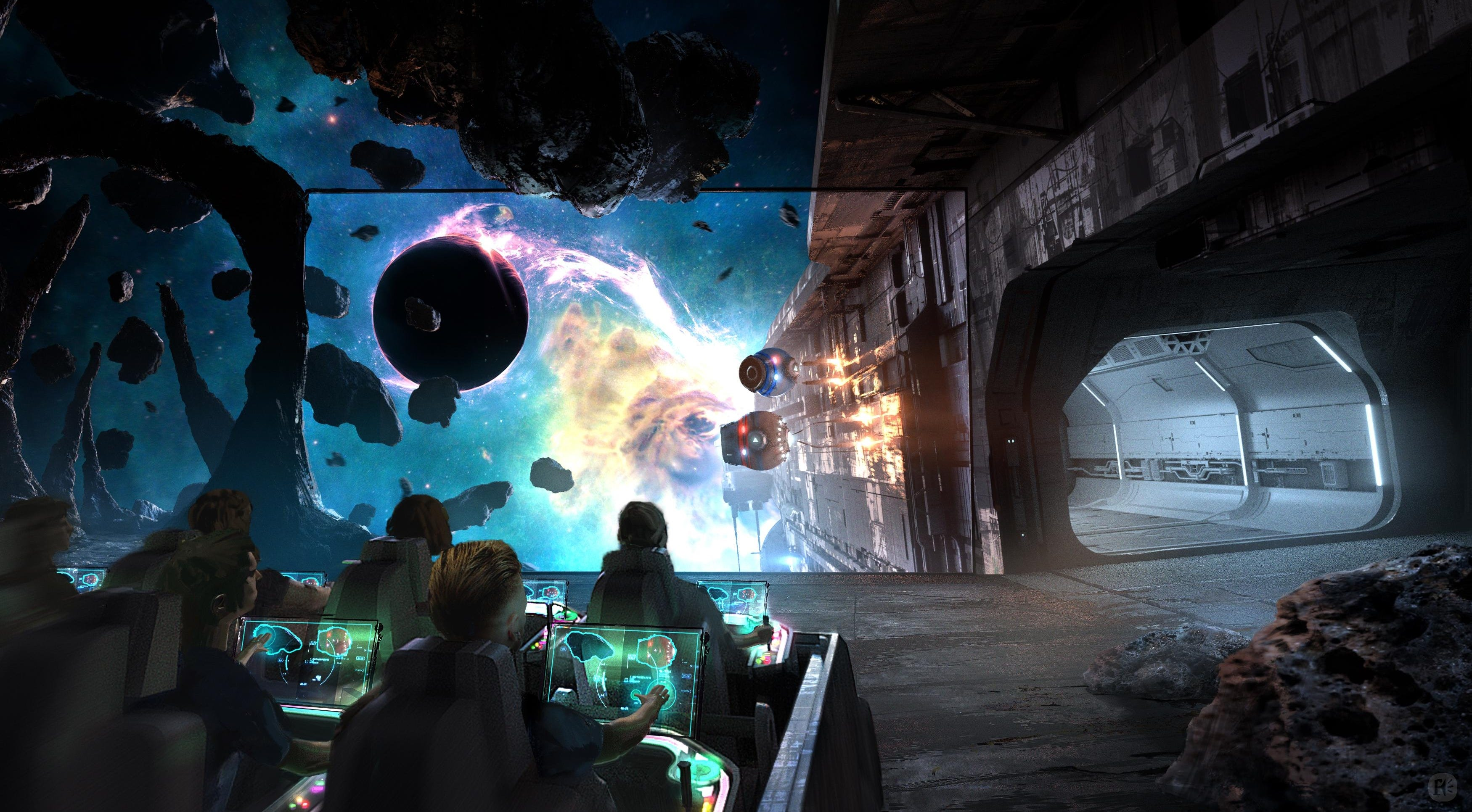 CAVU Designwerks and Framestore dreamed up Adventure Machine, an interactive dark ride in which passengers aboard automated, trackless vehicles would be able to control the motion of the vehicles using shooters or other input devices.