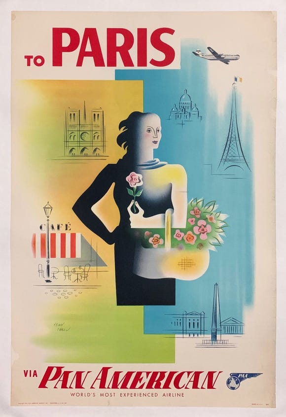 This 1950s-era poster for Pan Am is among the offerings for a sale by the Chisholm Larsson Gallery.